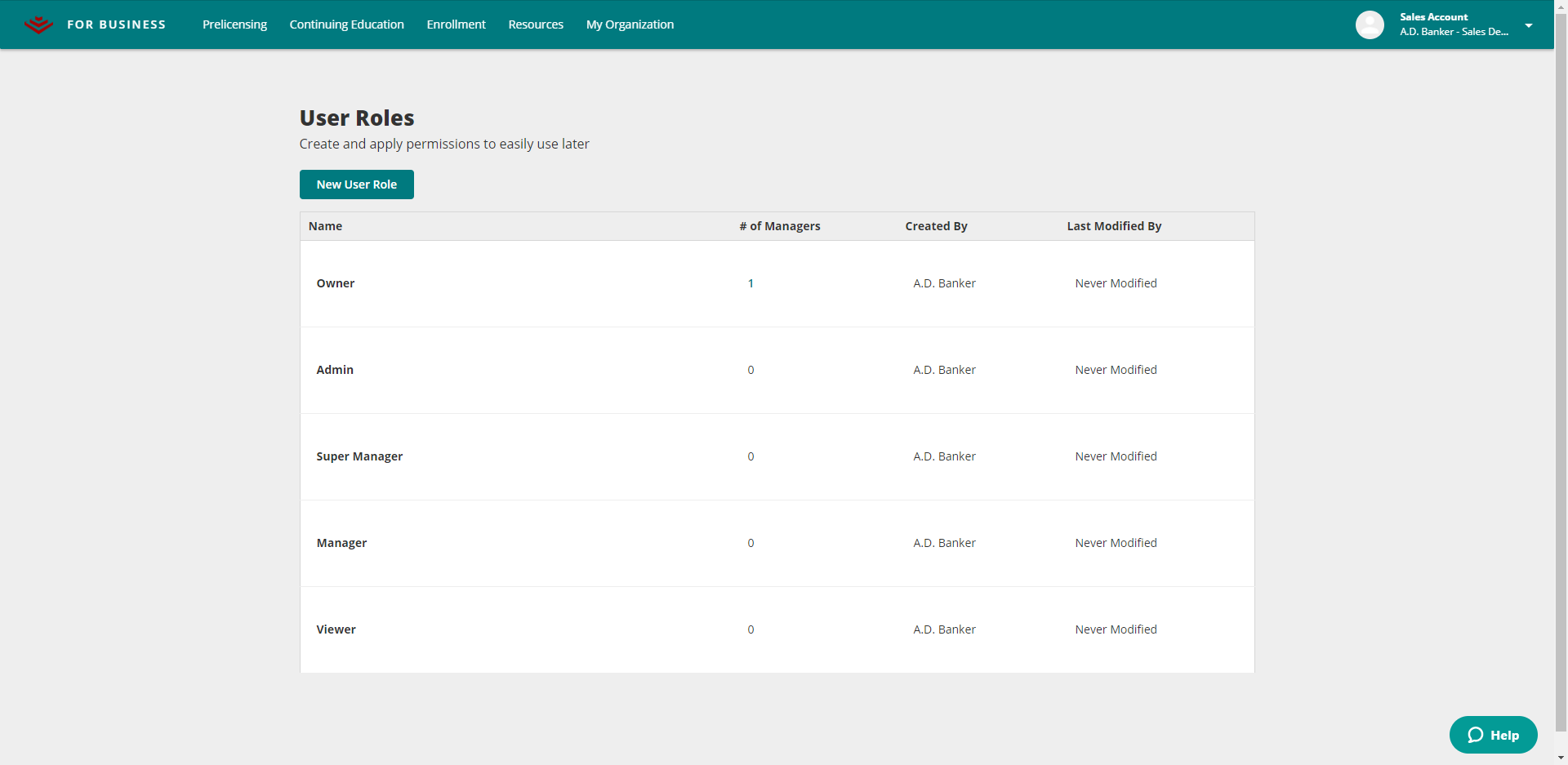 Custom User Roles Page in A.D. Banker for Business